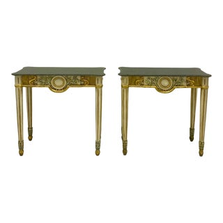 Vintage Italian Giltwood and Painted Stone Console Tables - a Pair