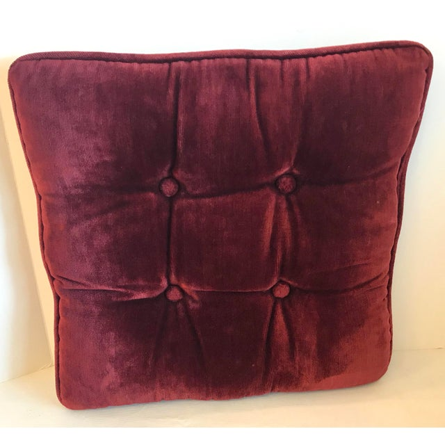 Traditional Vintage Mid-Century Red Velvet Square Tufted Pillow For Sale - Image 3 of 9