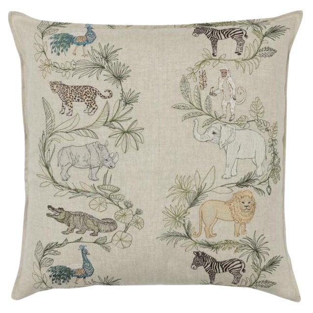 2010s French Ecru Linen Safari Pillow For Sale