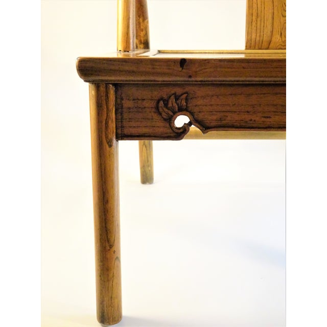 Wood Vintage Chinese Horseshoe Elm Wood Chair For Sale - Image 7 of 13