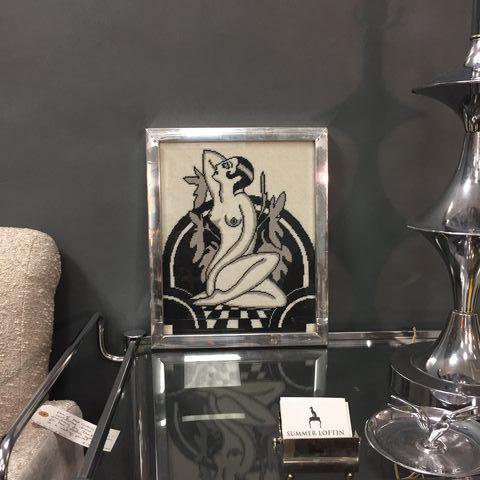 Black & White Art Deco Nude Needlepoint - Image 7 of 7