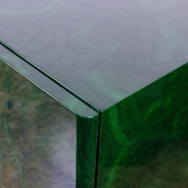 1970s Italian Malachite Lacquer Sideboard For Sale - Image 9 of 12