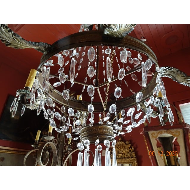 Metal 19th Century French Tole and Crystal Chandelier For Sale - Image 7 of 13