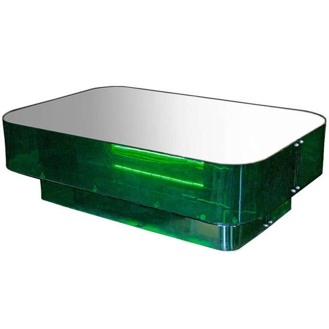 Ron Ferri, Electrified Plexiglass and Mirror Low Table, Usa, 1970s For Sale In New York - Image 6 of 10