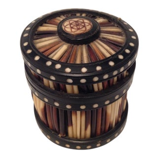 Early 20th Century Antique Porcupine Quill and Ebony Box For Sale