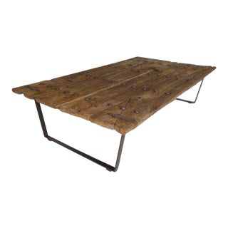 Early Japanese Elm Door Coffee Table with Iron Nails on Custom Base For Sale