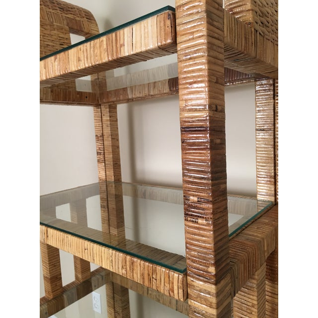 Billy Baldwin Style Lacquered Wrapped Rattan Etagere - Image 2 of 10
