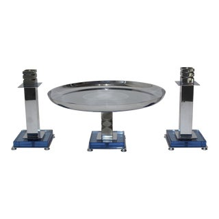 Art Deco 1930s Blue Glass & Chrome Farber Garniture Set - Compote & 2 Candlesticks - Set of 3 For Sale