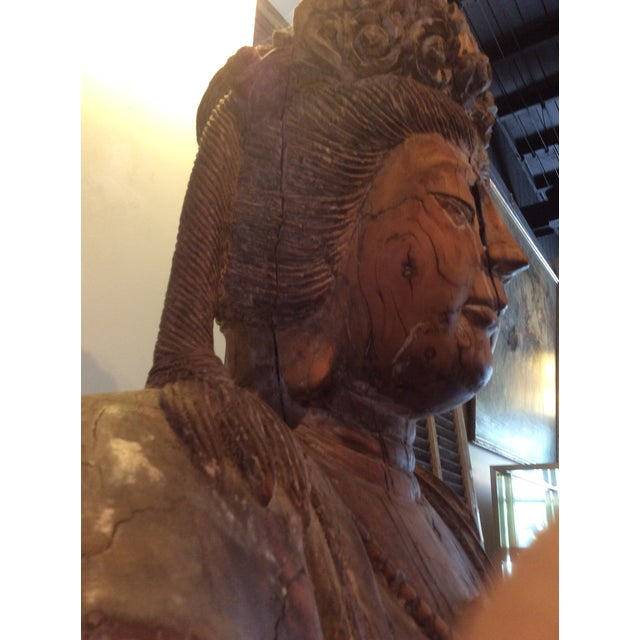 Wood Carved Wood Bodhisattva For Sale - Image 7 of 10