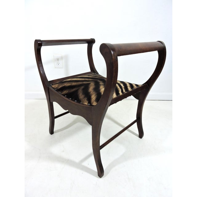 Antique Upholstered 'Animal Print' Mahogany Window Seat or Bench (Victorian) For Sale - Image 4 of 6