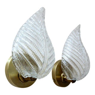 1950s Mid-Century Modern Barovier Murano Glass Leaf Wall Sconces - a Pair