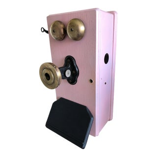 Antique Kellogg Crank Telephone/ Wall Phone- Hollywood Regency Pink For Sale