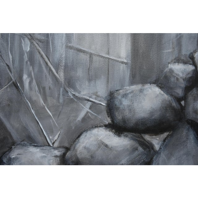 "Black ""Sculptural Stone Wall"", Contemporary Large Painting by Stephen Remick For Sale - Image 8 of 13"