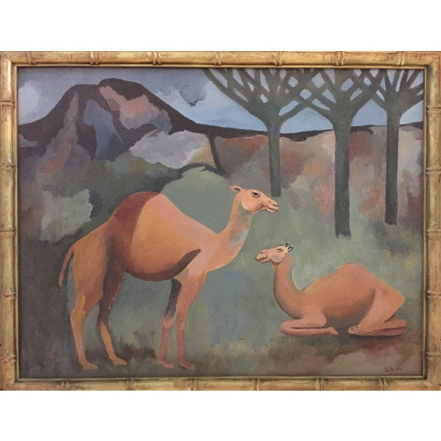 Mid-Century Camel Oil Painting - Image 1 of 7