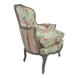 1940s Vintage French Fauteuil Lime Washed Accent Side Chair For Sale