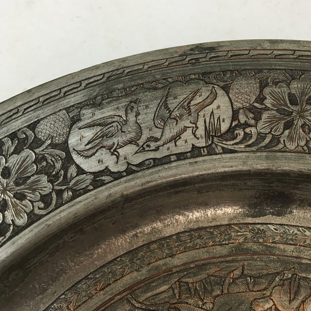 Antique Persian Etched Tinned Copper Plate For Sale - Image 4 of 8