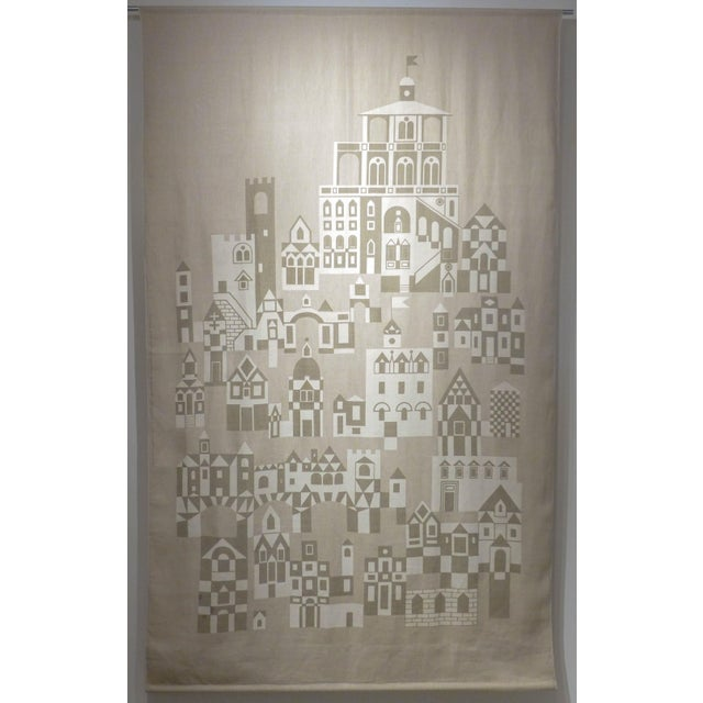 "Large silkscreen-on-linen panel titled ""Palazzo,"" designed by Alexander Girard and produced by Jack Lenor Larson, c. 1976...."