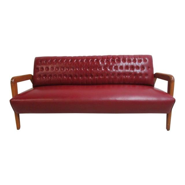 Vintage Heywood Wakefield Tufted Mid Century Sofa Settee For Sale