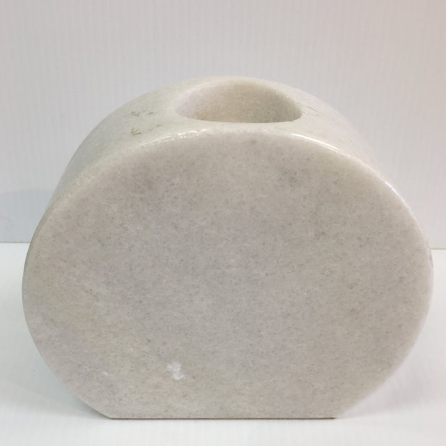 Carved White Marble Candle Holder For Sale In Palm Springs - Image 6 of 6
