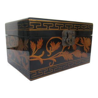 Vintage Asian Chinoiserie Lacquered Lidded Keepsake Box With Filagree & Greek Key Design Motif For Sale