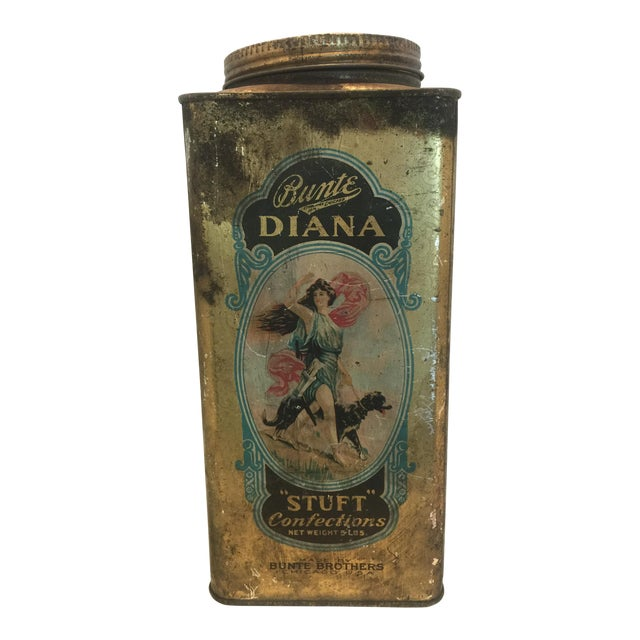 1920's Vintage Bunte Brothers Diana Stuft Confections Tin For Sale