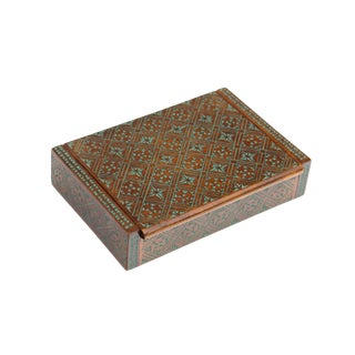 Handcarved Polished Mahogany Box With Allover Turquoise Star Decorations For Sale