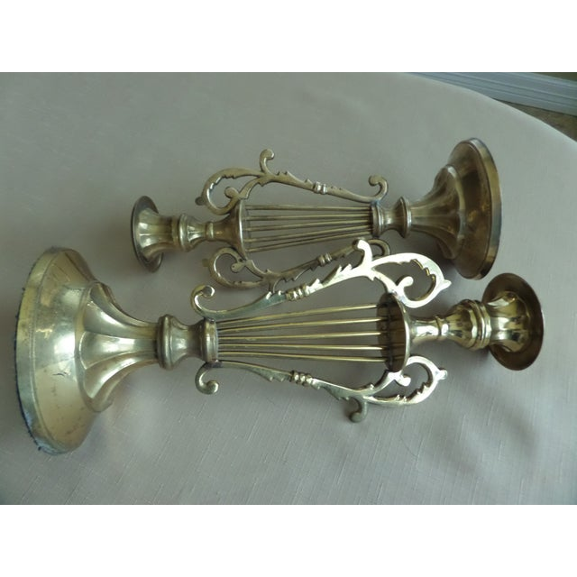 Brass Solid BrassMusical Harp Design Candle Holders - A Pair For Sale - Image 7 of 10