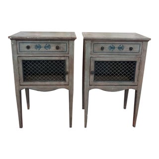 1890 Italian Distressed Blue Wood Side Tables - a Pair