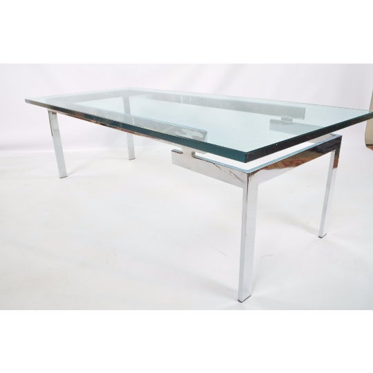 Glass & Chrome Staggered Base Coffee Table - Image 6 of 6