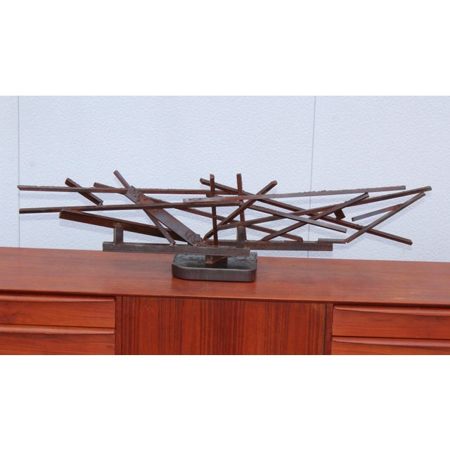 Mid-Century Modern 1960s Large Modernist Steel Sculpture For Sale - Image 3 of 13