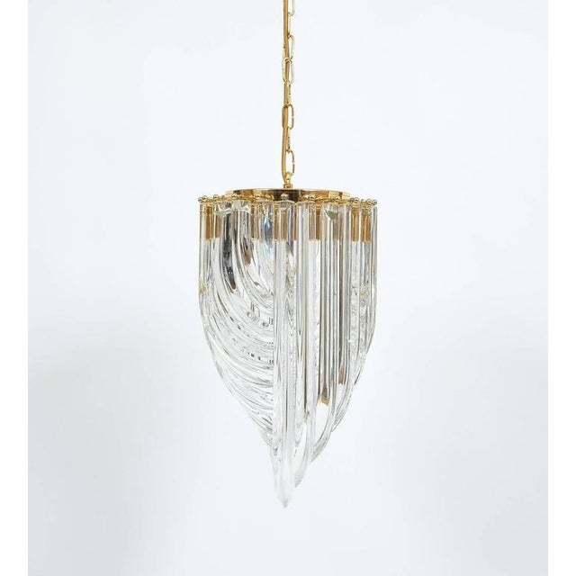 Brass Venini Curved Crystal Glass Gilt Brass Chandelier For Sale - Image 7 of 9