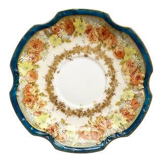 Floral Rich Blue Ceramic Limoges Coiffe Saucer - Limoges France 1800s For Sale
