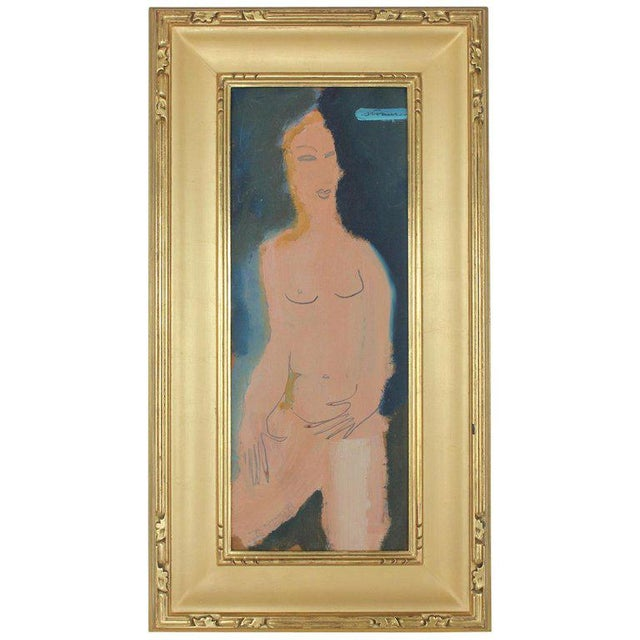Midcentury Abstract Figure Oil Painting by Sterling Boyd Strauser For Sale In Chicago - Image 6 of 6