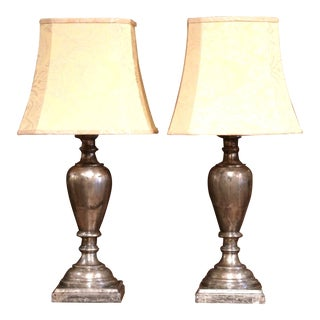 Large Pair of Italian Carved and Silvered Double-Light Table Lamps For Sale