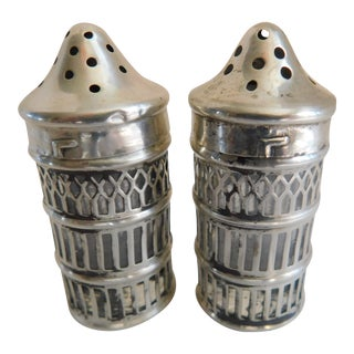 Sterling Over Glass Hallmarked Salt & Pepper Shakers - a Pair For Sale