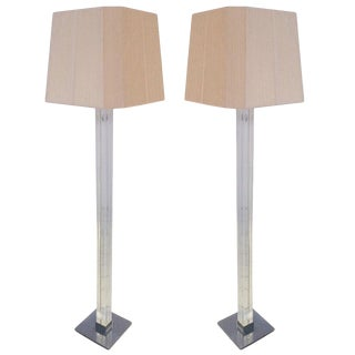 Pair of Lucite and Chrome Floor Lamps by Karl Springer For Sale