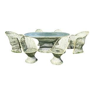 Russell Woodard Spun Fiberglass 6-Chair Dining Table Set