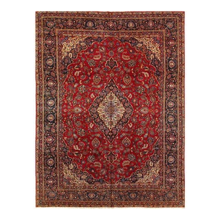 Red Semi Antique Persian Hand Knotted Kashan 10'11'' X 14'2'' For Sale