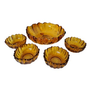 1960s Amber Indiana Glass Salad Bowl Set Sunflower Pattern - 5 Pieces For Sale