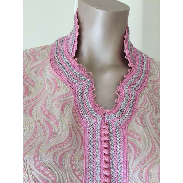 Pink Moroccan Brocade Kaftan Embroidered With Pink and Silver Trim For Sale - Image 8 of 11