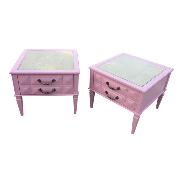 Mid-Century Modern Travertine Top Pink Lacquer Side Tables/ Nightstands- a Pair For Sale