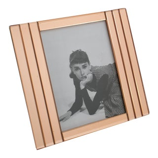1940s Copper Pink Mirror Geometric Picture Frame For Sale