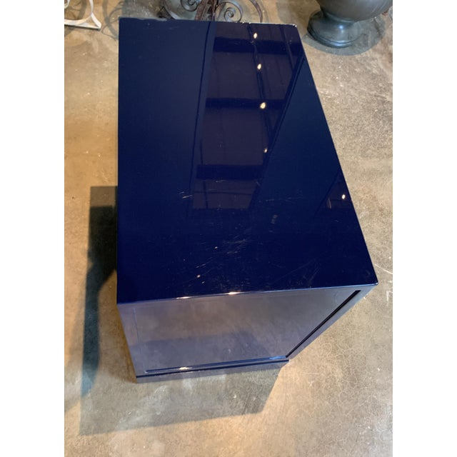 2010s Worlds Away Navy Lacquer Nightstand For Sale - Image 5 of 7