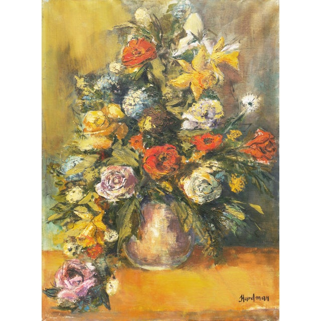 Saffron 'Modernist Still-Life of Narcissus and Roses' For Sale - Image 8 of 8