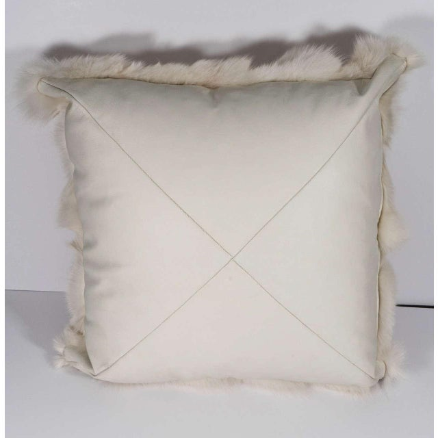 Genuine White Fox Pillow with White Leather Backing For Sale In New York - Image 6 of 6
