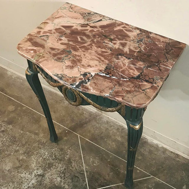 19th Century Italian Carved Wood Painted Marble Top Console With Mirror For Sale - Image 11 of 13