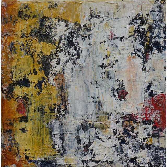 The artist used modeling paste, glass bead gel and lava gel in the acrylic paint to create this unusual texture, evoking...