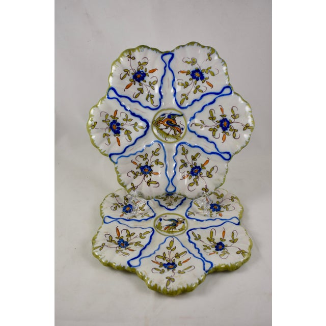 Blue Martres-Tolosane Moustier Floral Oyster Plate – Left Facing Bird For Sale - Image 8 of 9