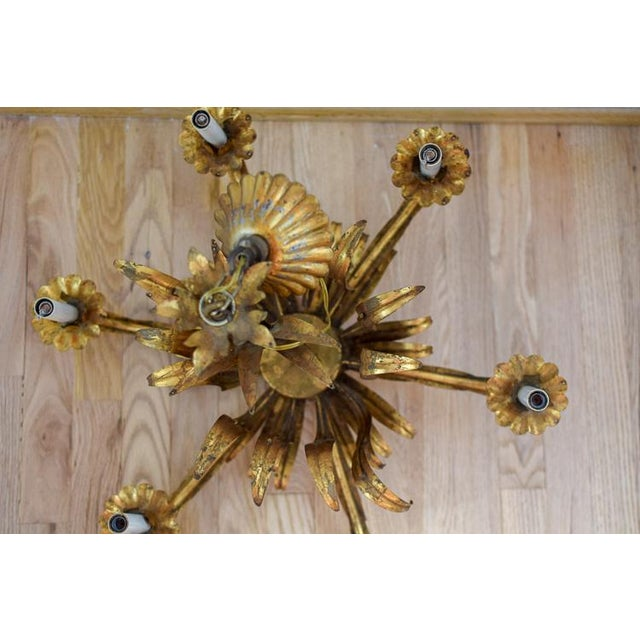 Gold Vintage Mid-Century Tole Chandelier For Sale - Image 7 of 12
