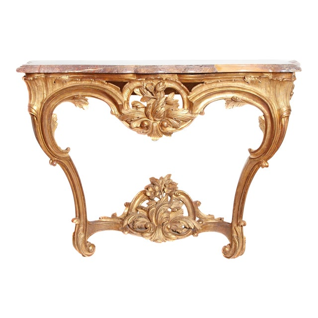 Fine Louis XV Period Carved and Gilded Wood Provençal Console Table ...